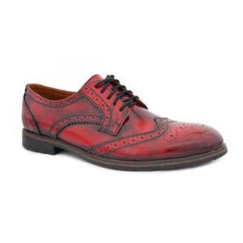 Туфли броги кожаные мужские красные купить на Greatmarket.com.ua