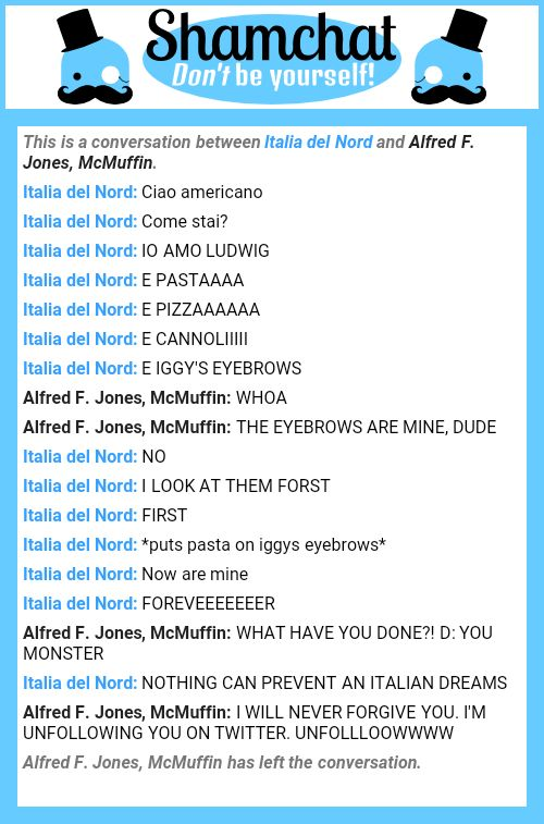 A conversation between Alfred F. Jones, McMuffin and Italia del Nord