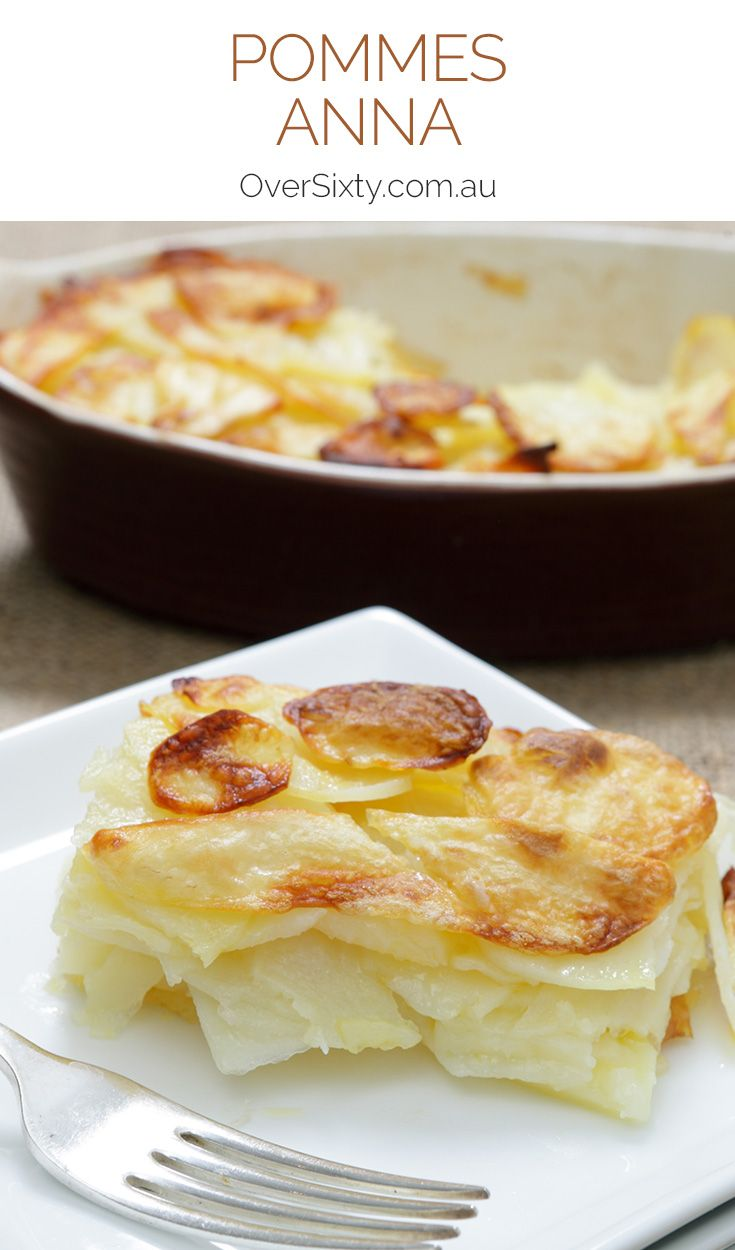 Pommes Anna - this classic French potato recipe of sliced and layered potatoes is crispy on the outside, tender on the inside, and delicious all the way through. An easy side dish.