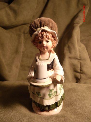 Vintage Schmid St Patrick's Day Lady Girl Figurine Pin Cushion Thimble Holder   Jan 24, 2014 / US $19.99 / 681.44 RUB