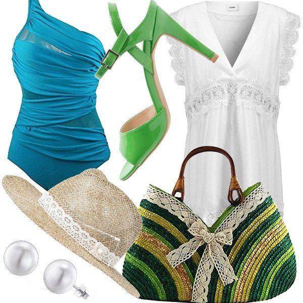 Outfit dai colori freddi ma allegri!! Costume intero monospalla color turchese, abito bianco con pizzo, sandali allacciati alla caviglia colore verde, borsetta con manici di legno, cappello in paglia decorato con pizzo e infine orecchini a perla.