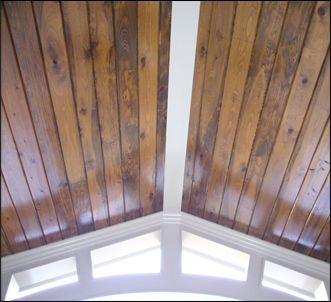 Stained Car Siding On Ceiling For The Home Porch