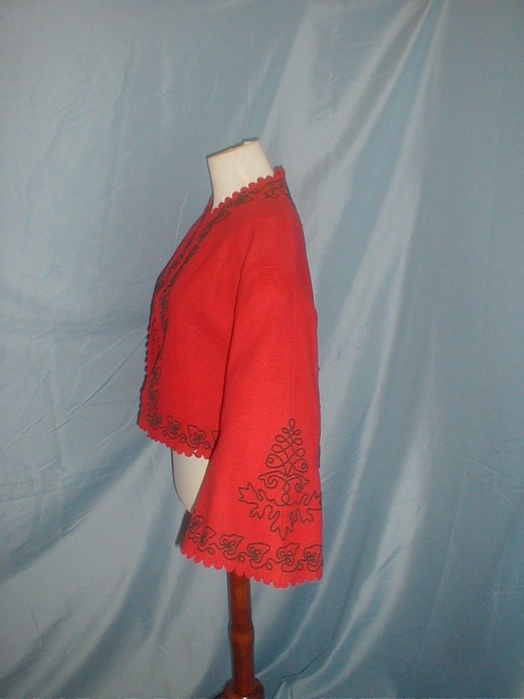 A charming estate find antique original 1860 red flannel Zouave jacket. The jacket is lavishly decorated with black soutach trimming. It has full pagoda styled sleeve. The neckline, front opening sleeves and hemline are decorated with pinked scalloped edging. | eBay! Fiddybee