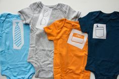 DIY Baby Boy Onesies.  DIY printable templates for stenciling in.  Would take a lot of time, but I'm sure SOMEONE would appreciate this.