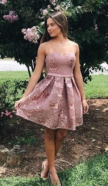 16c946866df Cute Straps Short Homecoming Dress with Gold Sequins in 2019