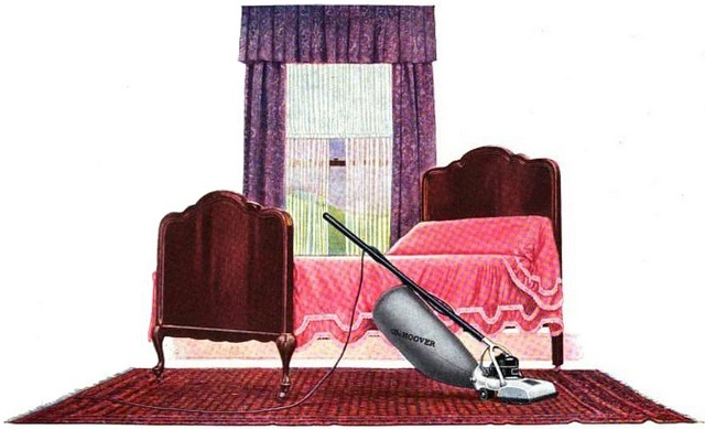 An elegant, sweetly pretty 1920s bedroom in which we see an early Hoover vacuum on display. #vintage #ad #1920s #home #decor