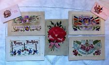 Original WW1 Collection of 4 Embroidered Silk & 1 Velvet Decorated Postcards