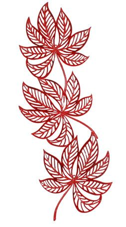THREE LEAVES IN BOLD RED METAL WALL ART