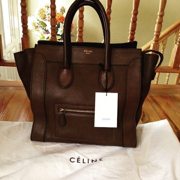 Celine Mini Tote Luggage Bag Brown pebbled leather, in good ...
