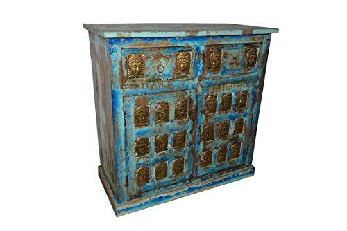 Spanish Moroccan Mediterranean Boho Shabby Chic Media Console Table Buddha Carving Chest Distressed Sideboard Furniture