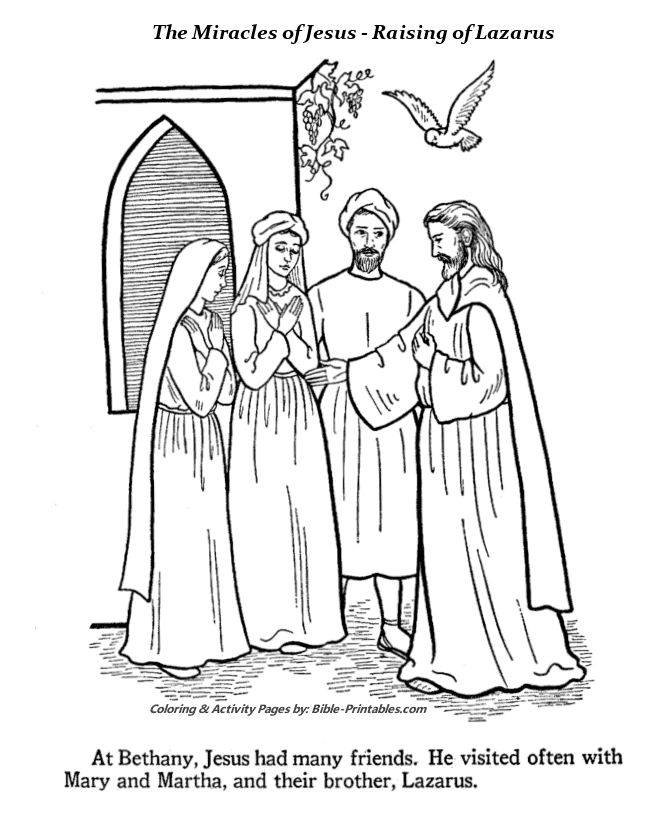 The Miracle of Raising of Lazarus Coloring Pages 1 | Bible ...