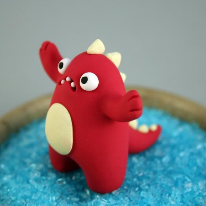 monstruo plastilina rojo