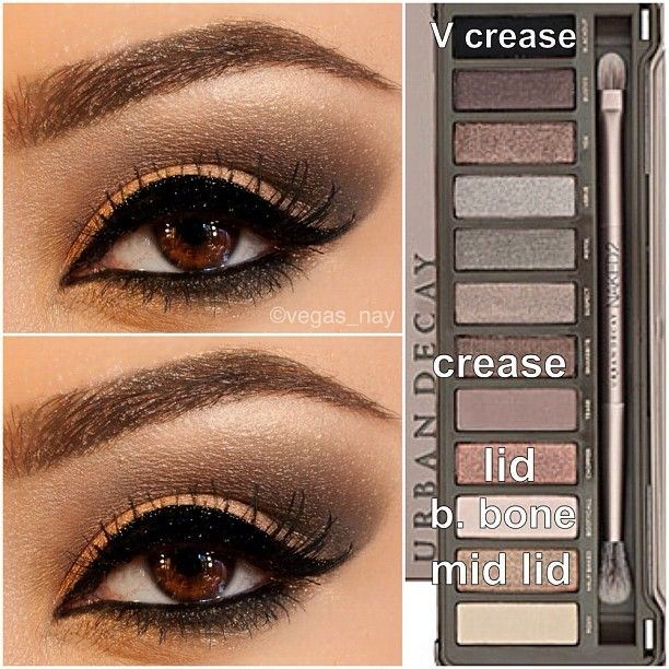 Steps for Smokey Brown using the Urban Decay Naked Palette 2   1.) Prime eye w/ urban decay primer potion; & pat CHOPPER on lid 2.) Blend out SNAKEBITE in crease & BOOTYCALL to brow bone 3.) With an angled shading brush, apply BLACKOUT TO V crease & blend over SNAKEBITE to darken; blend well 4.) Apply HALF BAKED (gold) to middle of lid and slightly blend outward over CHOPPER to make lid pop