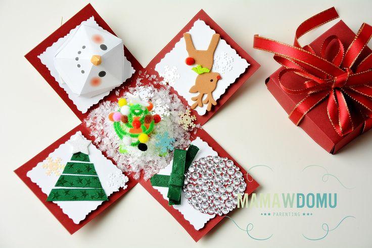 pudełko z życzeniami na święta Expolding box - pudełko z życzeniami zamiast kartki na święta, po kliknięciu przejdziesz na stronę z szablonem do wycięcia pudełka