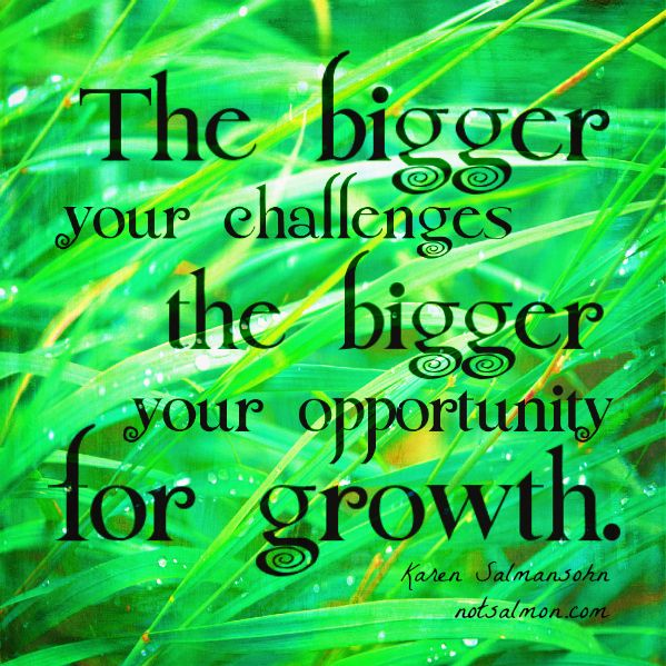 The bigger your challenges the bigger your oppportunity for growth.