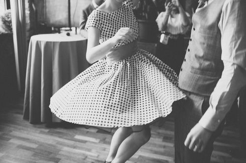 let's dance together to dusty old records playing jazz songs from the golden age. i'll don my checkered dress, put my hair up into victory rolls and you can put on a vest and your grandpa's suspenders. twirl me around and sing off-tune. let's step on each others toes and laugh each time we do.