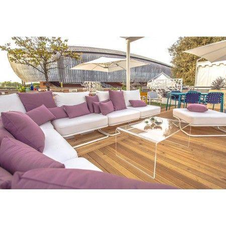 Tavolino da salotto moderno in plexiglass trasparente 100x59 h:40 - # ...