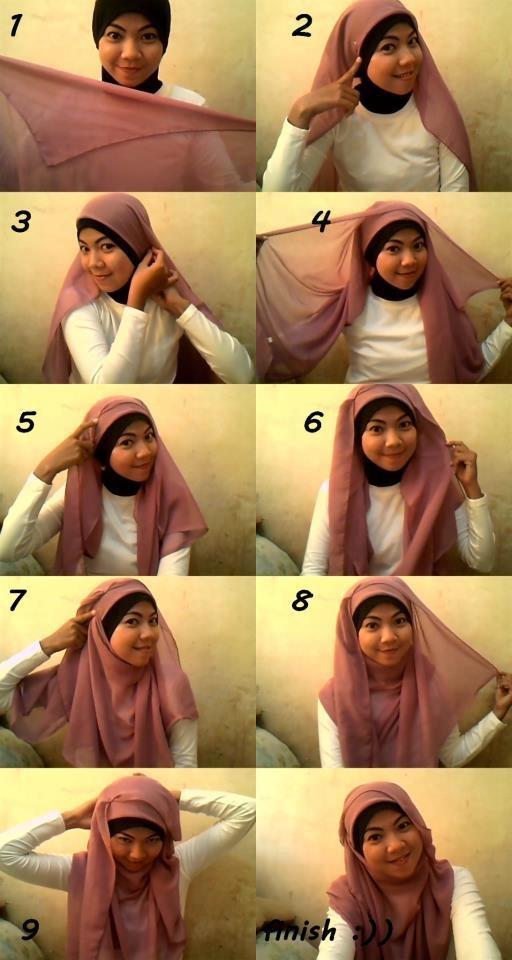 Cara Memakai Hijab Segi Empat Polos