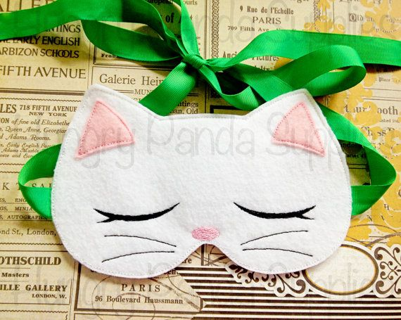 Kitty Cat Sleep Mask Embroidery Design, sleep mask embroidery, in the hoop design