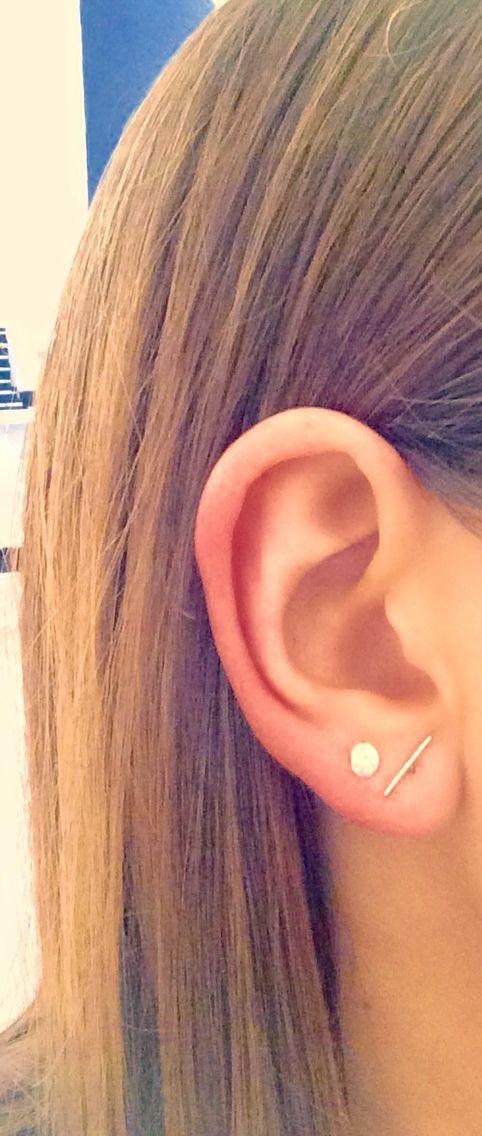 Natalie Marie: mini moon single stud silver, $60.00. Silver wire ear hook, $100.00.