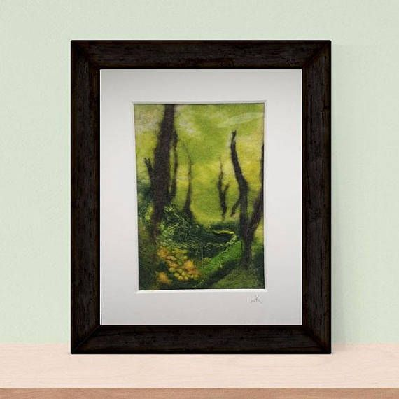 Felted forest wall art Scottish felt picture painting fiber