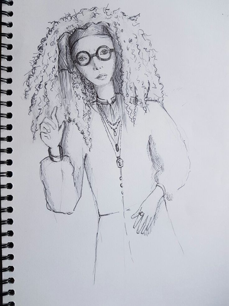Professor Trelawney | pencil & pen sketch by Kate Winsley