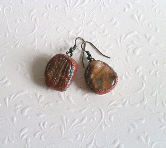 Drop pebble earrings natural stone faux copper  polymer clay by Lijoux