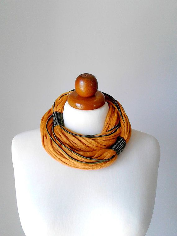 Festival clothing scarf necklace scarf yellow by PlexisArt on Etsy