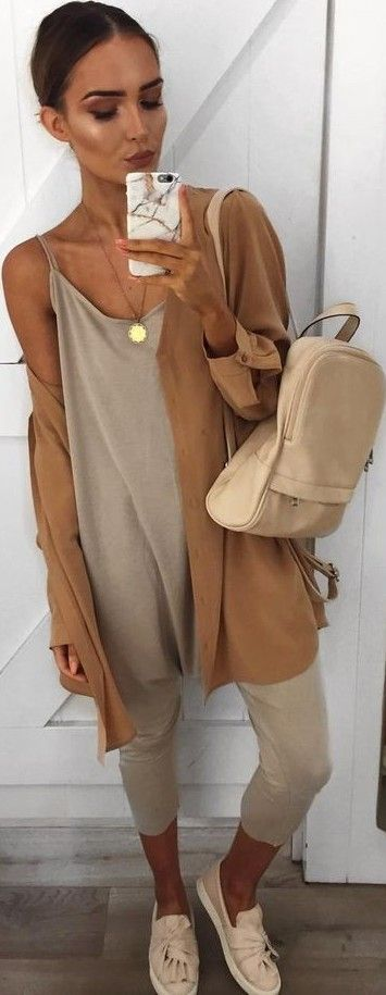 #summer #popular #outfits | Camel Cardi + Beige Jumpsuit