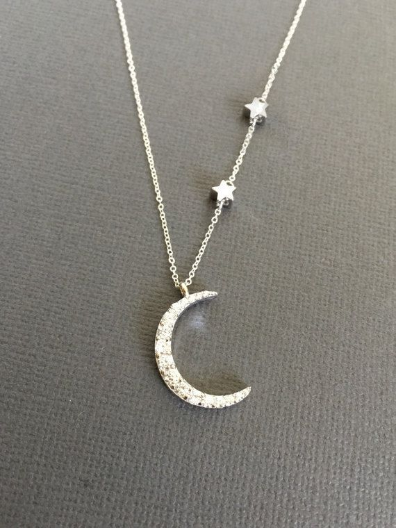 Silver Crescent Moon Necklace Star necklace Star and by Muse411