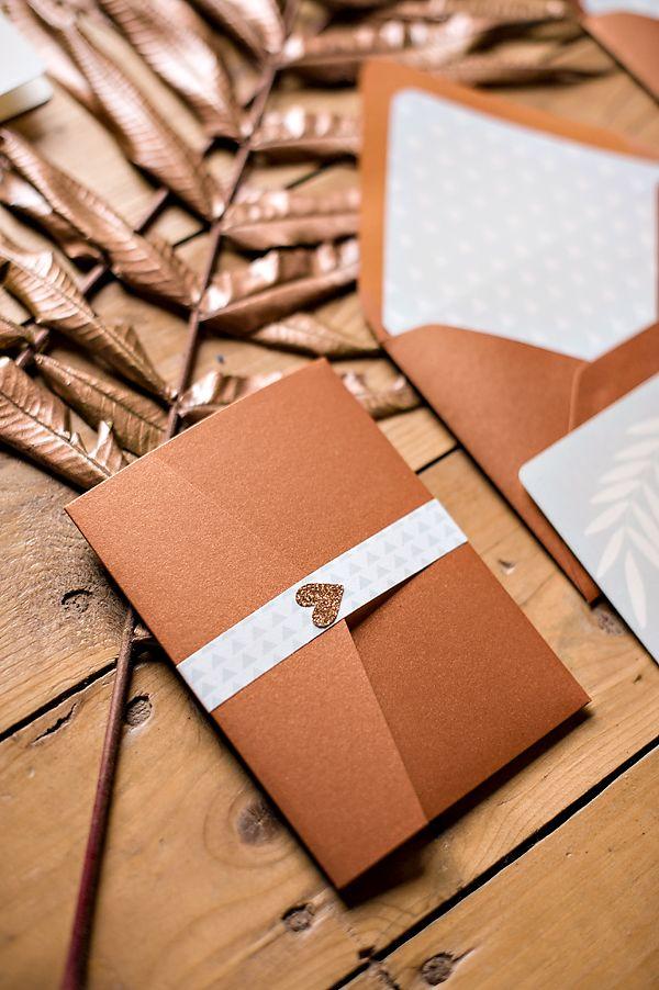 bronze wedding invites - love the heart!