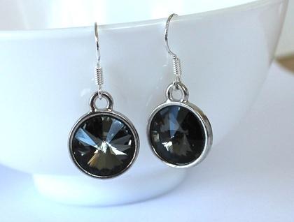 Earrings, Gorgeous Grey Swarovski Crystal Drop Earrings, Sterling Silver Hooks, Beautiful!!