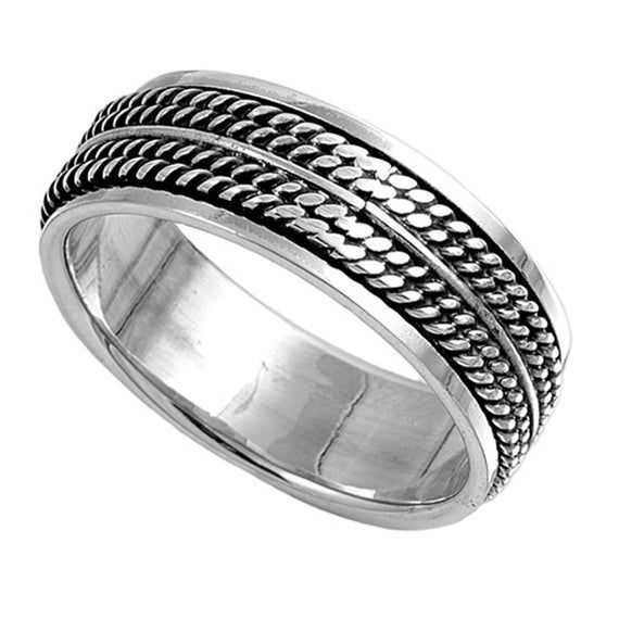 Custom Engraving Men Women 8mm 925 Sterling Silver Band Oxidize Finish Braided R…   – Products
