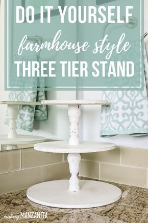 DIY Farmhouse Three Tier Stand for Bathroom Countertop Storage