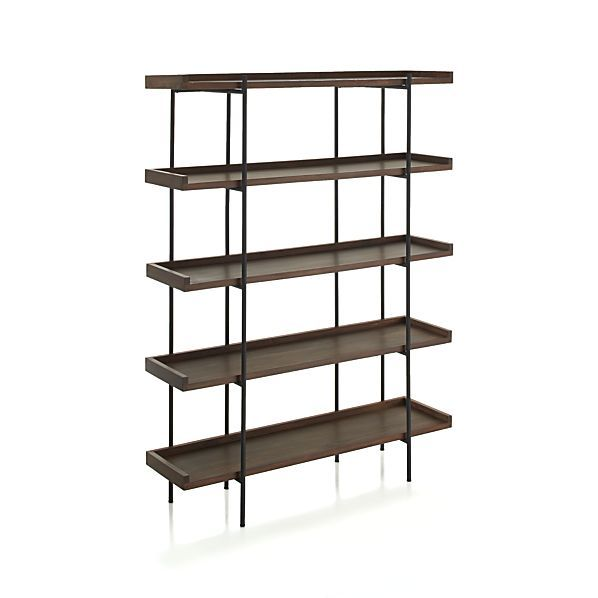 """LR: """"Beckett"""" 5-High Shelf at C&B. Might be too wide for our space?? I like the simple lines, but combination of steel & wood. (55.5w x 16.25d x 71h)"""