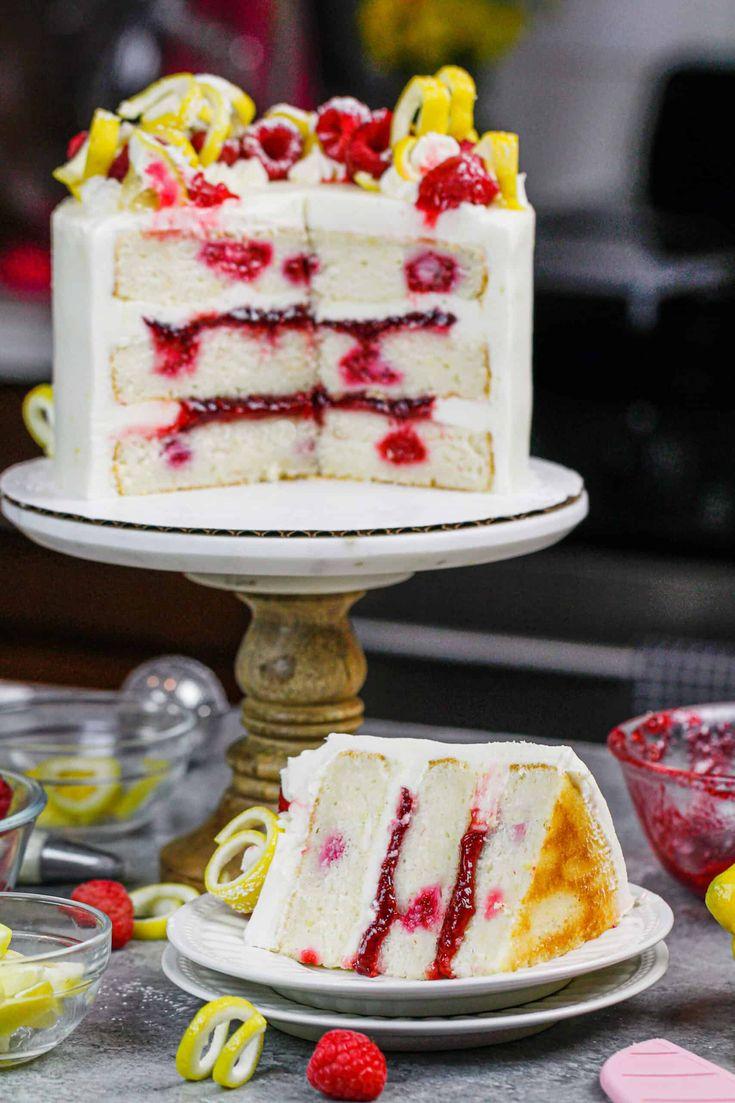 Lemon raspberry cake with a lemon cream cheese frosting