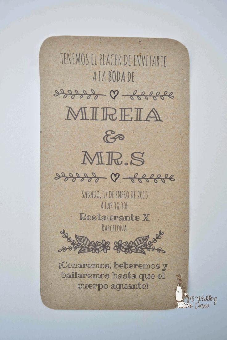 Mi Wedding Diario: Imprimible Invitaciones Rusticas