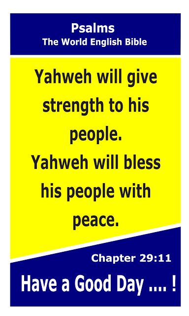 Bible Newsletter: Bible Verse of the day - Psalms 29:11