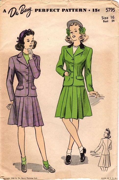"DuBarry 5795. 1944 Teen Age Suit. Bust 34"". Original. Complete."