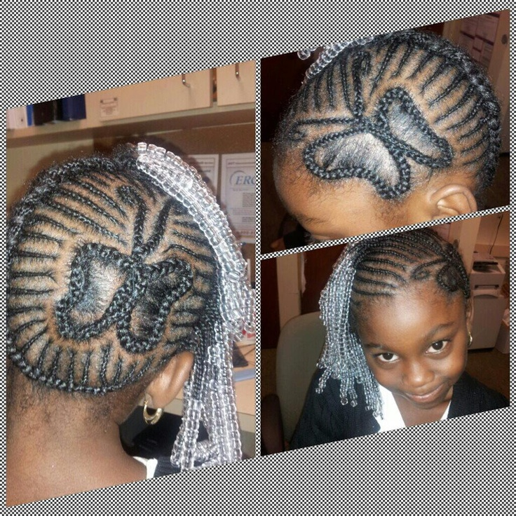 kids butterfly cornrow design hairstyle
