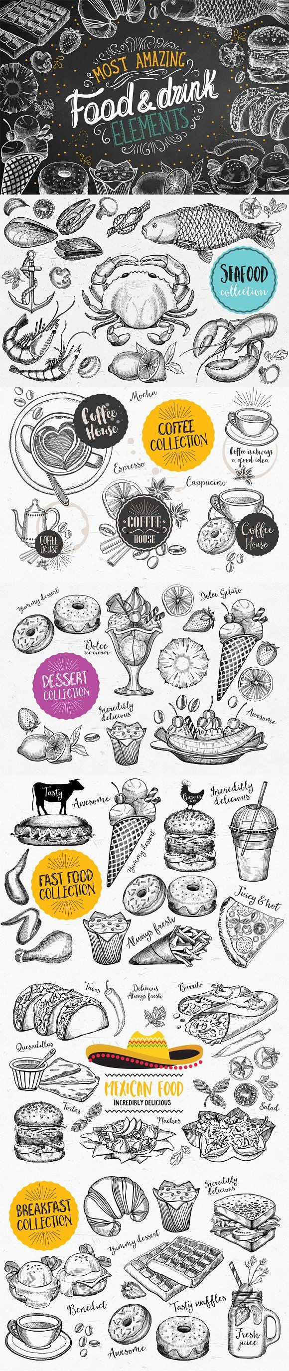 Food Bundle 75% off by BarcelonaShop on @creativemarket. Best food illustrations for businesses like food menu, blogging, graphic design, poster. More #doodle #illustrations for your #brand you can download here ➝ https://creativemarket.com/graphics/illustrations?u=BarcelonaDesignShop