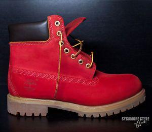 """Custom Dyed Sycamore Style """"Suicide"""" Riz Red Timberland Boots 