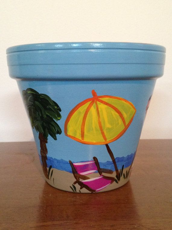 Hand Painted 6 Inch Decorative Flower Pot Beach Theme Relaxing Design Home Decor And Garden