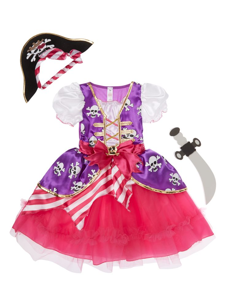 She'll be ready to sail the seven seas in this gorgeous pink and purple pirate costume. Featuring a ruffled oversized skirt, this fun outfit has short white sleeves and a tied chest area and comes with a sword and classic pirate hat to let her imagination run wild. Girls pink and purple pirate costume Ruffled oversized skirt Decorated dress Tied chest section Short white sleeves Sword and hat included Keep away from fire