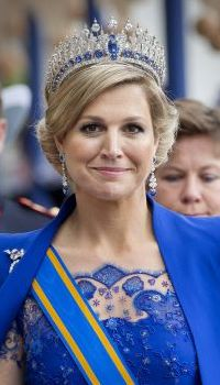 HM Queen Maxima on King's Day 2013, wearing a tiara with diamonds and sapphires once owned by Queen Emma of the Netherlands