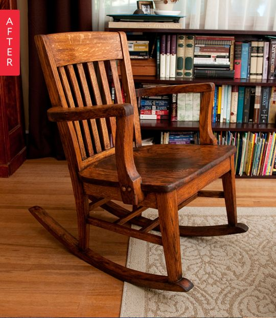Before & After: A New Mom Gets a New Old Rocker - great tutorial on how to restore a painted wood chair