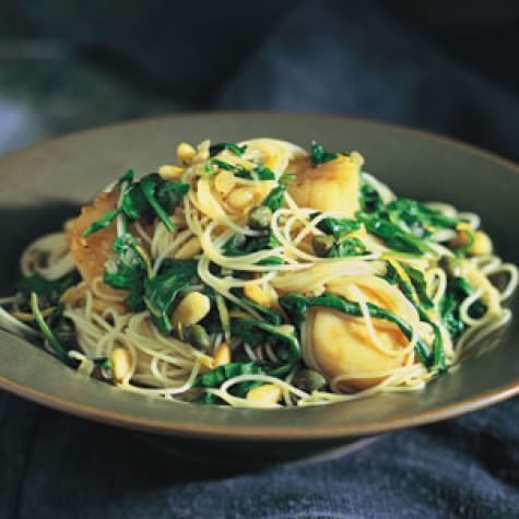 Angel Hair Pasta with Scallops and Arugula