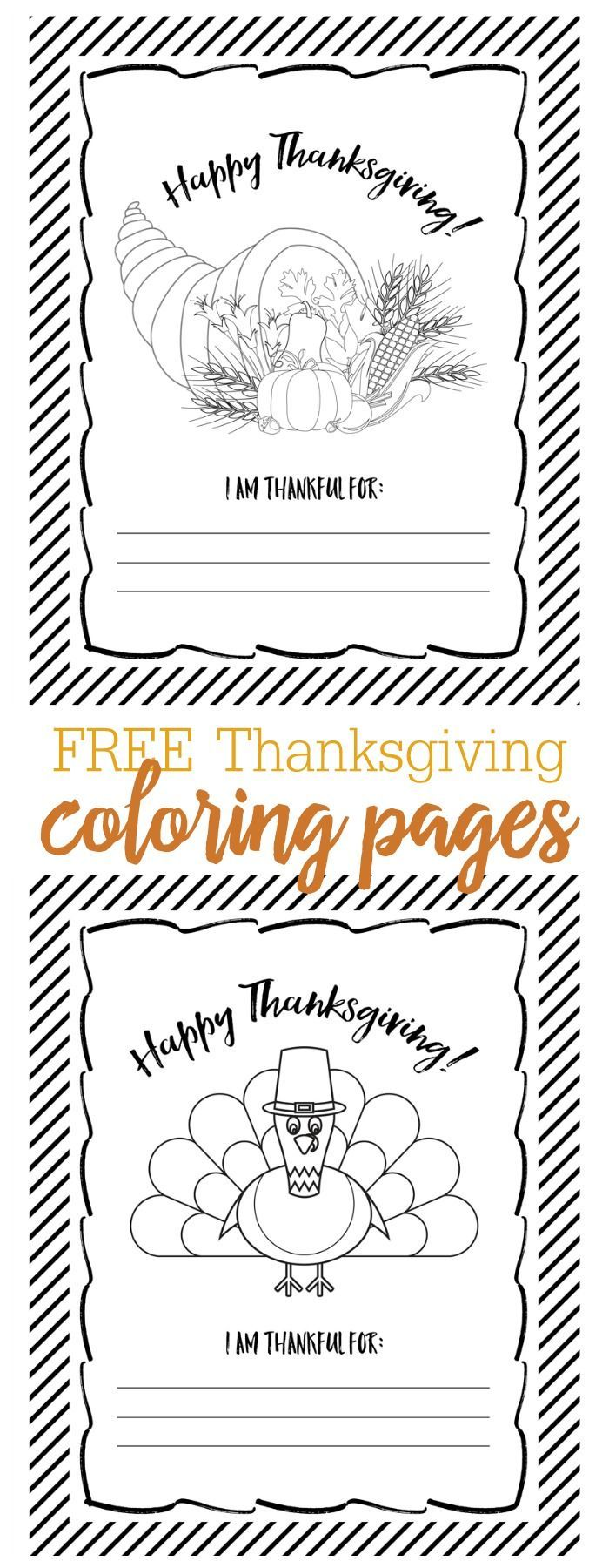 FREE Thanksgiving Coloring Pages - just download, print and use to color in November or perfect for the kids table on Thanksgiving!