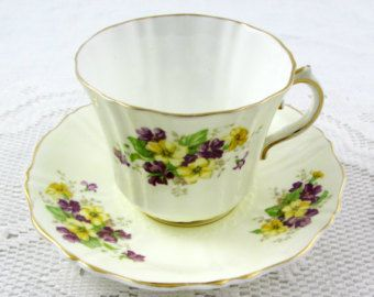 Blauwe bloem thee kop en schotel Vintage porselein Engelse