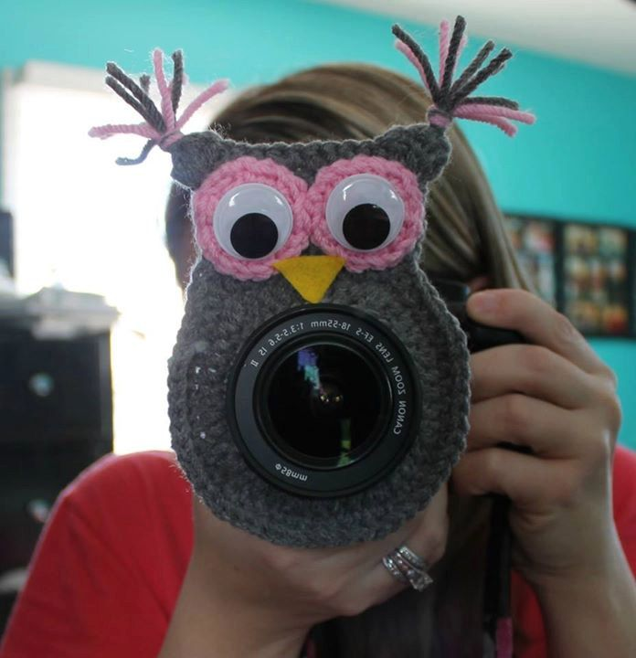 Crochet camera lens buddy owl by TangledUpNStitches on Etsy, $10.00